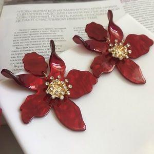 Red Oversize Statement Acrylic Flower Earrings